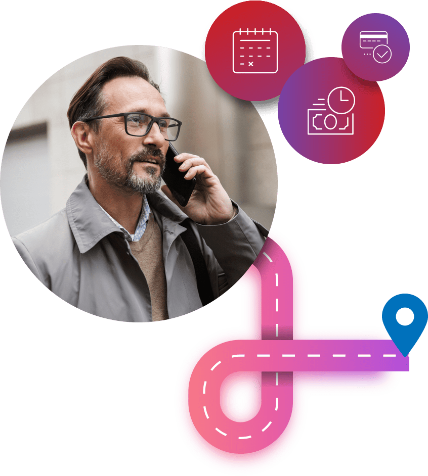Customer in need of ERS Emergency Roadside Assistance is helped by conversational artificial intelligence that is able to pinpoint customer location with GPS
